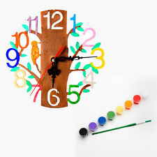 DIY Clock. Decorate your own Clock Wooden crafts Gift Idea Paints Included