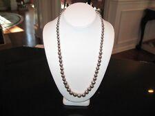"""Vtg Signed 925 Sterling Silver long & large Bead Designer Necklace 24"""""""
