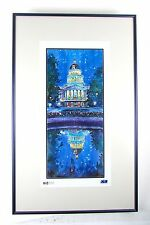 Vibrant Capital Hill Building Signed D. LaBenBerg Urban Art Lithograph Blue Moon