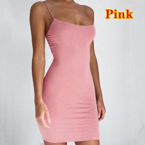 Sexy Women Solid Color Spaghetti Strap Sleeveless Club Party Bodycon Mini Dress