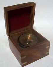 Maritime Nautical Ships Compass In Wood Box Brass Chrome Red Felt Hinged Lid