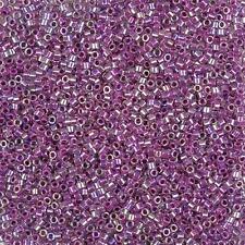Miyuki Delica Seed Beads Size 11/0 (1.6mm) Lined Magenta AB DB056 7.2g (B77/1)