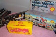3 Shell Toy Trucks ~ Corgi (1:64 Scale) Racing Transporter / 1931 Hawkeye - ERTL