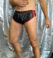 Hi-cut sprinter shorts in blue-black ultra-thin Pertex nylon with red trim (S)