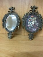 "Vintage 6.25"" Cast Metal Mini Framed Wall Mirror And Flower Picture Set - Italy"