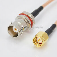 12in BNC female jack to SMA male plug Pigtail Jumper cable RG316 30cm