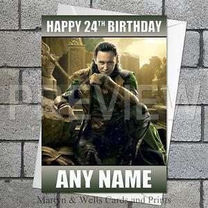 Loki birthday card. 5x7 inches. Thor, Avengers. Personalised plus envelope.