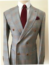 Super 150 Cerruti double breasted Prince of Wales/patch pocket/wide peak lapel