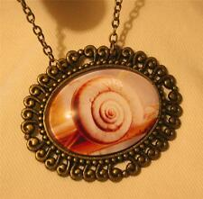 Brasstn Swirl Natural Tones Snail Shell on Branch Glass Cameo Pendant Necklace