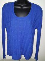 Faded Glory Womens Blue Striped Sweater Top Size XL 16 18