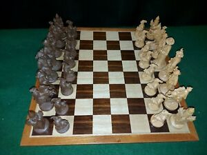 Decorative Chess Set with folding board - Pagan ? Viking ? -see pics for design