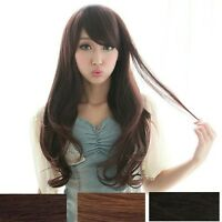 Fashion Womens Long Curly Wavy Black/Brown Hair Full Wig Cosplay Party Wigs