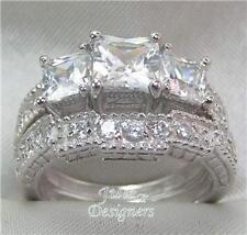 2.56ct AntiquePrincess 3-stone Wedding Ring Set! Size4½
