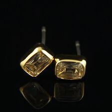 14k Gold GF stud solid crystals earrings