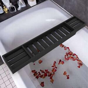 Black Bamboo Wood Bath Tub Rack Bathroom Shelf Tidy Tray Storage Caddy Organiser