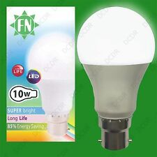 8x 10W A60 GLS BC B22 6500K Bombillas LED Luz Diurna Blanco Perla lámparas, 110-265V