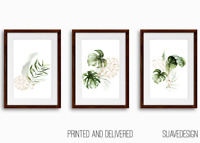 [Set of 3] Botanical Prints Wall Art Monstera Fern Palm Tropical Leaves Greenery