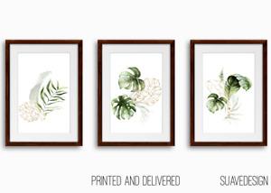 [Set of 3] Botanical Prints Wall Art Monstera Fern Palm Tropical Leaves Greenery