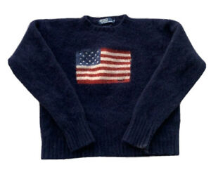 Vintage Polo Ralph Lauren American Flag Knit Sweater Lambswool Navy Mens Small