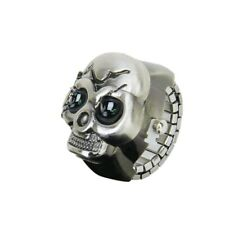 Bronze Flip-Up Skull Cover Finger Ring Watch Stretchy Watchband for Unisex-- 6R3