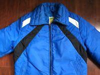 Vintage Womens SKYR Ski Jacket Sz Small 70-80s Blue Black White Goose Down USA