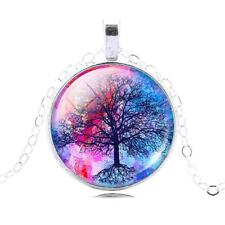 Silver Tree of Life Glass Cabochon Pendant Necklace, Sacred Tree, TL34