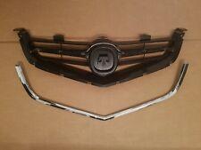 2PC Set 2004-2005 ACURA TSX Front Bumper Grille w/ Lower Chrome Trim Molding