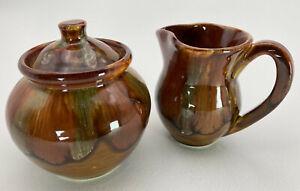 Dryden Art Pottery Arkansas Creamer Sugar Bowl Earth Tones Drip Glaze Ceramic