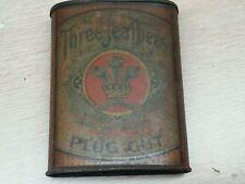 antique three feathers plug cut plug tobacco tin pocket can sign