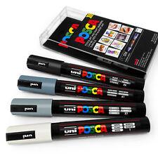 Uni Posca PC-5M Marcador De Arte Pintura Plumas-Gris Tonos-Conjunto de cartera de plástico 4 in (approx. 10.16 cm)