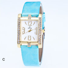 Fashion Women's Ladies Watches Leather Stainless Steel Quartz Analog Wrist Watch Sky Blue