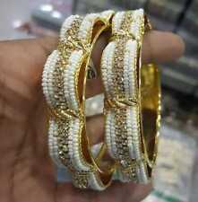 Bollywood Indian Style Gold Plated CZ Pearl 2 Bangle Kada Bridal Dulhan Set