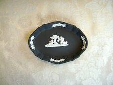 Vintage Wedgwood White On Black Jasperware Scalloped Oval Trinket Tray