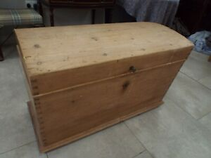Large Victorian Pine Dome Topped Blanket Box Coffer Chest