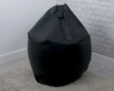 Large Faux Leather Filled Bean Bag Classic Design Adult Gamer Seat in Black