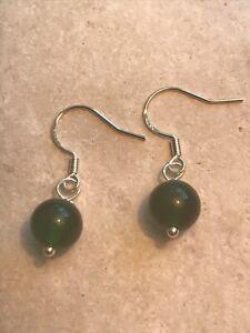 Genuine Green Jade Gemstone Earrings - 925 Sterling Silver Gift Bag - Free P&P