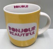 "GENERIC "" BONJOUR BEAUTIFUL ""  HANDLED COFFEE CUP MUG 370ML VALENTINES DAY"