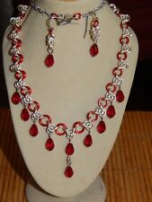 & Crystals Earrings Set Hand-Made Enamelled Copper Chain Maille