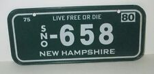 POST CEREAL 1980 METAL KIDS BICYCLE LICENSE PLATE NEW HAMPSHIRE LIVE FREE OR DIE