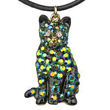 NEW KIRKS FOLLY DIAMOND LIL CAT CORD NECKLACE GOLDTONE/BLACK