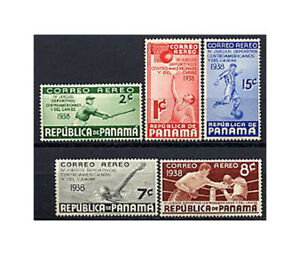 PANAMA, Sc #C43-47, MH, 1938, BASEBALL, BASKETBALL, SOCCER, BOXING, FIDD-H
