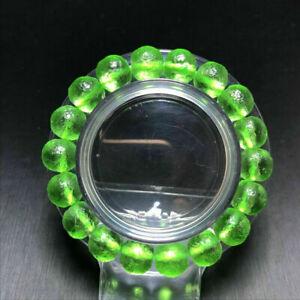 Rare Natural Green-Crystal Beaded Gem Moldavite Meteorite Impact Glass Bracelet