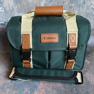 Canon Camera DSLR SLR and Lens Bag - Green / Tan Retro Look - Good Condition