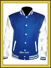 Baseball Varsity Letterman Royal Blue Wool Jacket with White Leather Sleeves