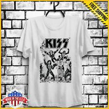 Vintage T-Shirt Kiss Live Tour Poster Love Gun Gene Simmons White Unisex S-6XL