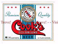Unused 1950s (70mm) INDIANA Evansville COOK'S GOLDBLUME BEER 12oz Label