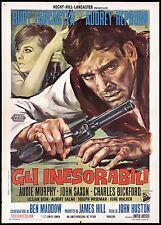 GLI INESORABILI MANIFESTO FILM LANCASTER HEPBURN THE UNFORGIVEN MOVIE POSTER 2F