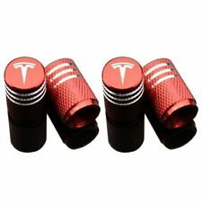 Red Car Logo Tire Air Valve Caps 4Pcs Wheel Tyre Dust Stems Cover for Tesla