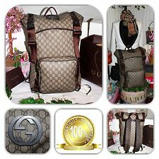 🎒COUTURE-GUCCI INTERLOCK BROWN SUPREME COATED GG MONOGRAM X-LG BACKPACK! 🎒