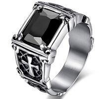 MENDINO Men's Vintage 316L Stainless Steel Crystal Ring Celtic Cross Band Black